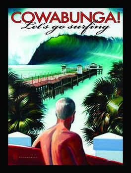 Cowabunga!-Lets Go Surfing Metal Sign
