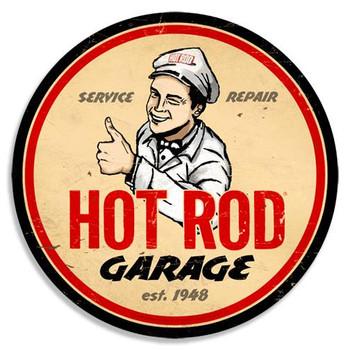 "Hot Rod Garage Vintage 14"" Round Metal Sign"