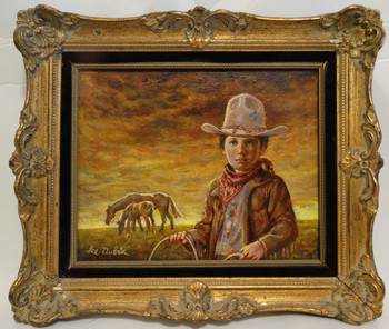 Little Cowboy by Lee Dubin Framed Original Oil Painting