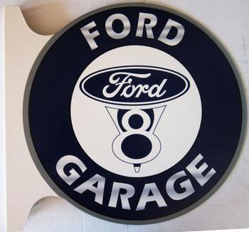 "Ford V8 Garage Flange Sign 19"" Wide by 18"" Tall"