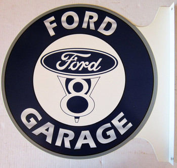 "Ford V8 Garage Flange Sign 19"" Wide by 18"" Tall"