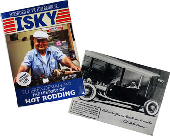 """Ed Iskenderian """"Isky"""" History of Hot Rodding Autographed Book with Hot Rod Metal Sign"""