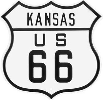 Kansas Route 66 Steel Embossed