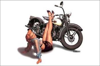 Motorcycle Pinup Metal Sign 1