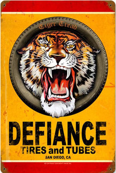 Defiance Tires and Tubes Metal Sign