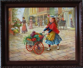 "Lee Dubin Framed Original Painting ""Fresh Vegetables Peddler"""