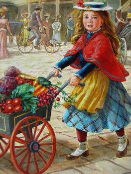 "Lee Dubin Framed Original Painting ""Fresh Vegetables Peddler"""