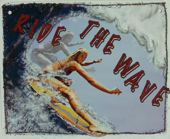 Ride the Wave Surfer Girl Aluminum Sign