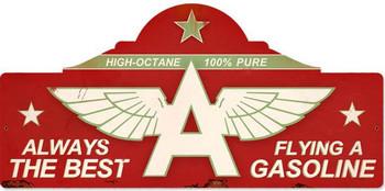 Flying A Gasoline Plasma Cut Metal Sign