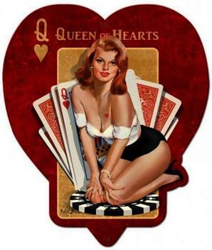 Queen Of Hearts Plasma Cut Metal Sign