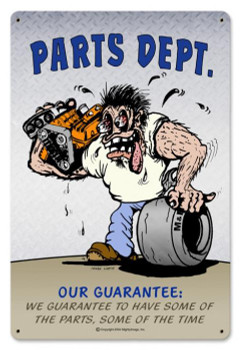 Parts Dept. Metal Sign