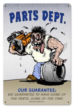 Parts Dept. Metal Sign