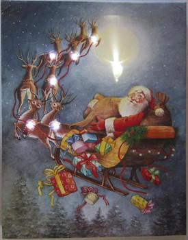 Santa Sleigh LED Canvas