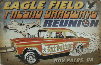 Eagle Field Fresno Dragways Metal Sign