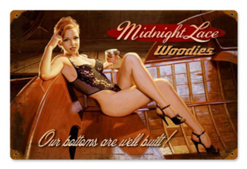 Midnight Lace Pin-Up Metal Sign