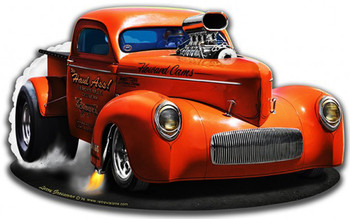 1940 Willy's Pick-Up Truck Plasma Cut Metal Sign