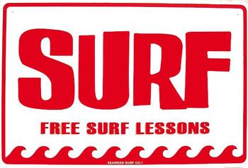 Surf-Free Surf Lessons Aluminum Sign