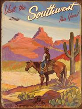 Southwest Cowboy Metal Sign