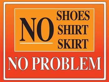 No Shoes Metal Sign