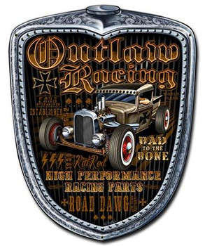 Outlaw Racing Grill Plasma Cut Metal Sign
