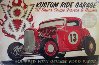 V8 Kustom Ride Garage Metal Sign