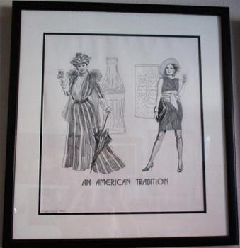 """Lee Dubin Framed Original Pencil Sketch """"Coca-Cola American Tradition"""""""