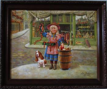 "Lee Dubin Framed Original Painting ""Fresh Meat Peddler"""