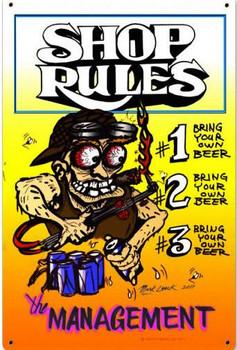 Shop Rules Vintage Metal Sign
