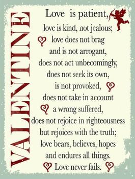 Valentine Love is Patient Metal Sign