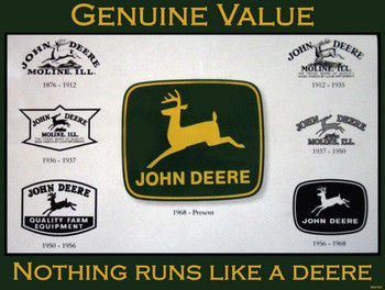 John Deere Historical Logos Metal Sign
