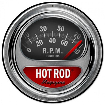 "Hot Rod Magazine Tach RPM 14"" Round Metal Sign"