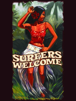 Surfers Welcome Metal Sign