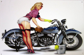 Motorcycle with Blonde Pin-Up Metal Sign