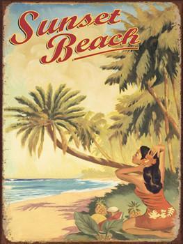Sunset Beach Metal Sign