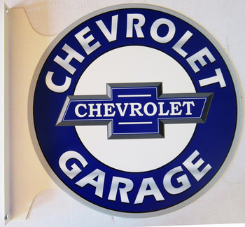 """Chevrolet Garage Flange Sign 19"""" Wide by 18"""" Tall"""