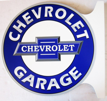 "Chevrolet Garage Flange Sign 19"" Wide by 18"" Tall"