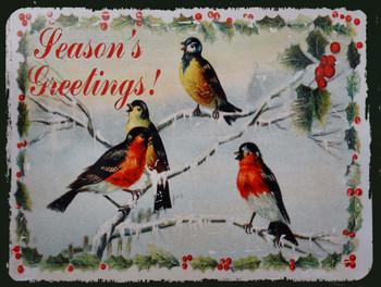 Season's Greetings Winter Birds Metal Sign