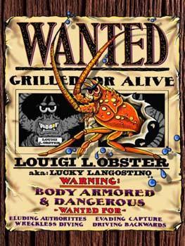 Wanted-Louigi Lobster Metal Sign