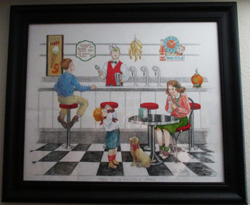 "Lee Dubin Framed Original Colored Pencil Sketch ""1940's Soda Fountain"""