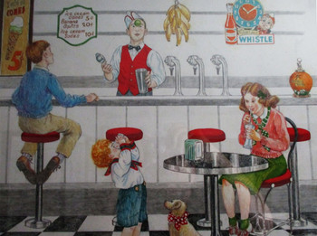 "Lee Dubin Framed Original Colored Pencil Sketch ""1940's Soda Fountain"""
