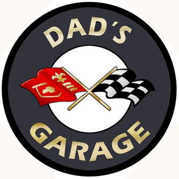 "Dad's Garage Corvette Logo Metal Sign 14"" Round"