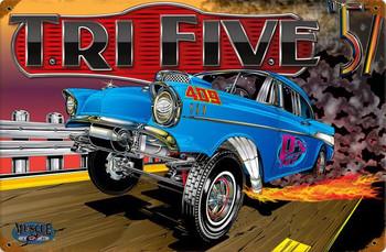 Chevy Tri Five 57 Vintage Metal Sign