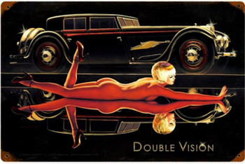 Double Vision Pin-Up Metal Sign