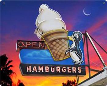 Hamburgers / Penquin Metal Sign