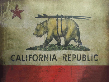 California Republic Bear Metal Sign