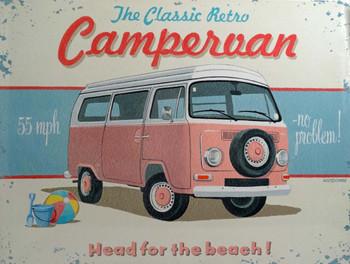 VW Pink Campervan Metal Sign