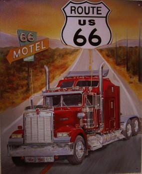 Route 66-Semi Truck Metal Sign