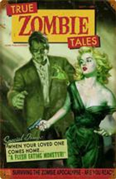 True Zombie Tales Pin-Up Metal Sign DISC