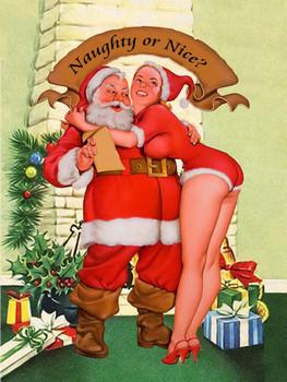 Naughty or Nice Pin-Up / Santa Christmas Metal Sign