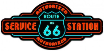 "Route 66 Authorized Service Metal Sign (36"" by 17"")"